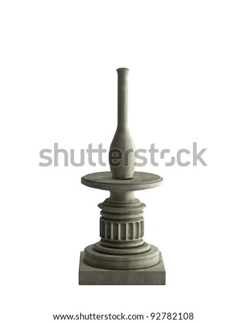 Decorative Stone vase on a podium isolated on white background. High resolution 3D image