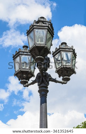 Decorative street lamppost on the sky background, St. Petersburg, Russia - stock photo