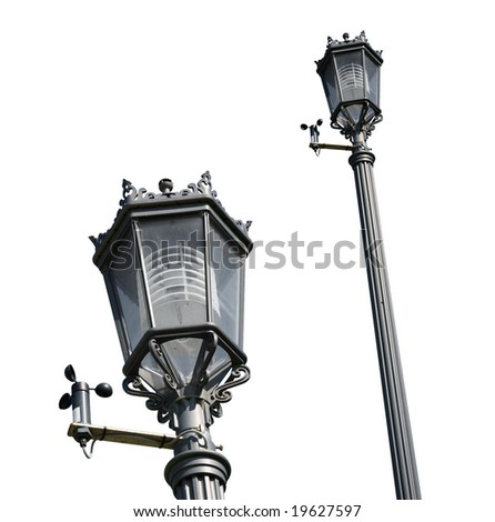 Decorative street light set isolated on white background to use in your designs. Includes clipping path. - stock photo