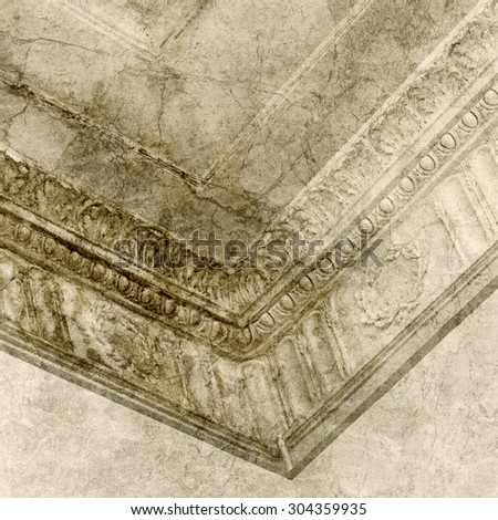 Decorative stucco molding in a ceiling corner - stock photo