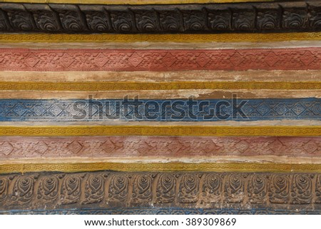 Decorative stucco panels at  Wat Bo Cambodia