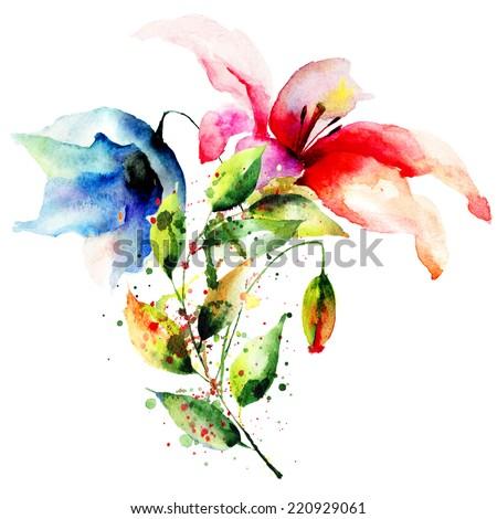 Decorative summer flowers, watercolor illustration  - stock photo