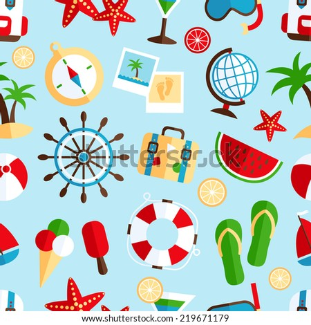 Decorative summer tropical vacation symbols of beach watermelon cocktail souvenir wrap paper seamless pattern abstract  illustration - stock photo