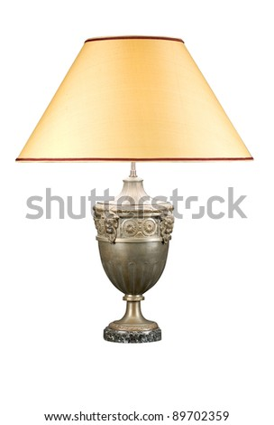 Decorative table lamp isolated on white background - stock photo