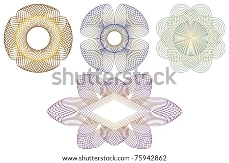 Decorative templates for processing of documents. Consists of four different decorative patterns. EPS version is available as ID 74785288. - stock photo