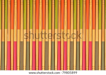 Decorative texture of bamboo chopsticks, collection
