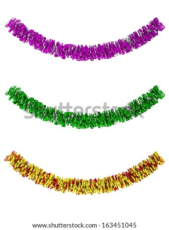 Decorative tinsel in different colors isolated - stock photo