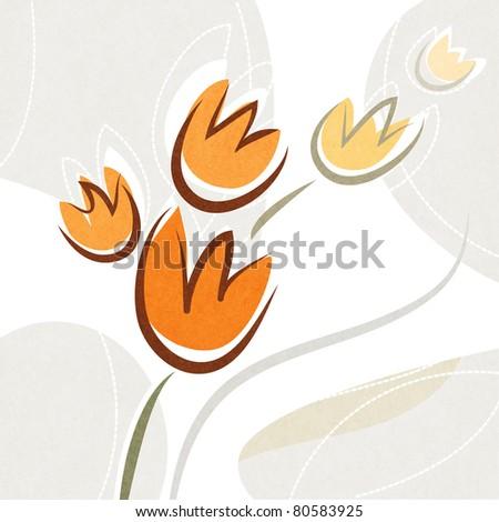 decorative tulip flower design (raster version) - stock photo