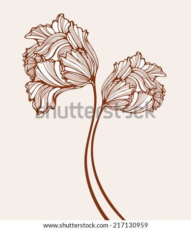 Decorative tulips raster illustration. Composition with retro hand-drawn flowers. - stock photo