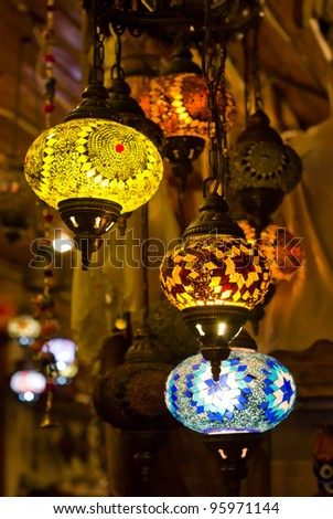decorative turkish lanterns - stock photo