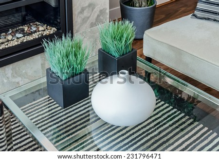 Decorative vase and two modern shape pots with plants, grass on the coffee table as an element of interior design decoration. - stock photo
