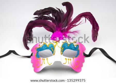 Decorative venetian carnival mask isolated on white background - stock photo