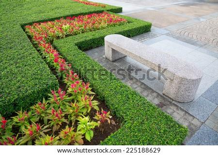 Decorative vertical garden in the park. - stock photo