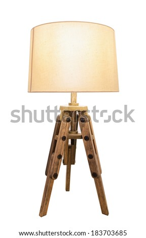 Decorative vintage lamp shades. Out of wood on a white background. - stock photo