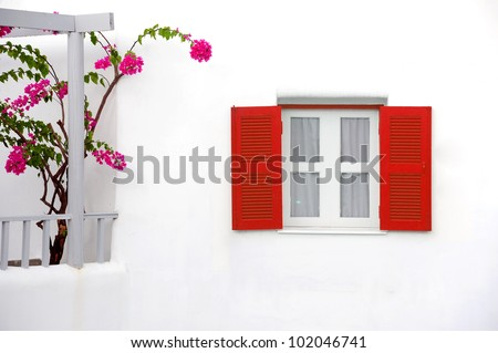 Decorative vintage window with colorful flowers