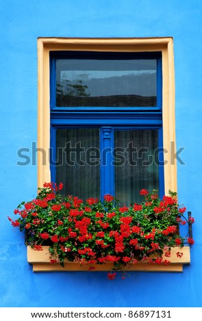 Decorative vintage window with colorful flowers - stock photo