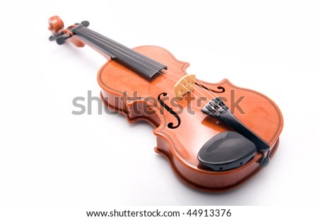 Decorative violin on white background