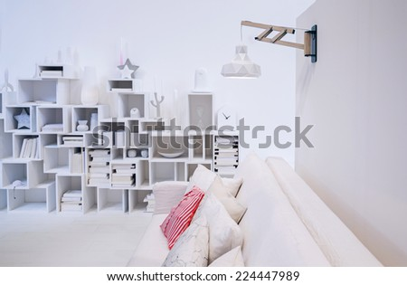 decorative wall in white interior of living room  - stock photo