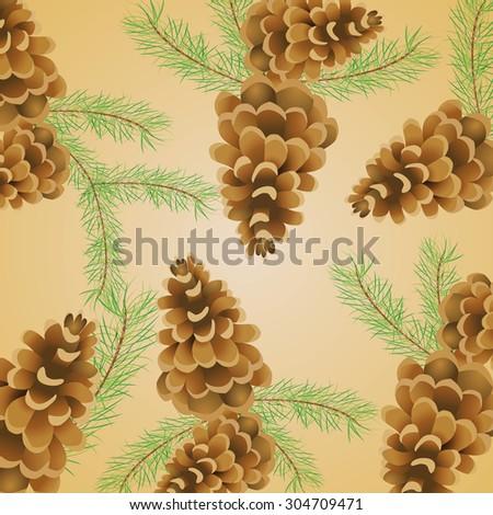 Decorative wallpaper with pine cones - Raster - stock photo