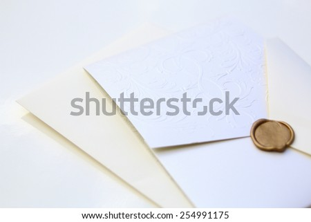 Decorative wedding invite isolated over a white background - stock photo