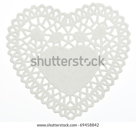 Decorative White Heart Doilie Isolated on White with a Clipping Path. - stock photo