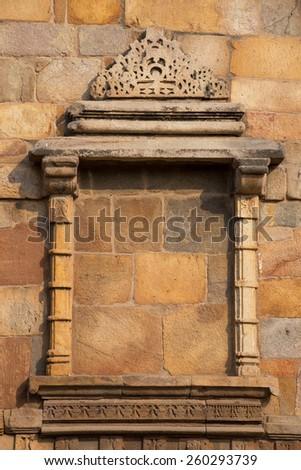 Decorative window at Qutub Minar complex, Delhi, India - stock photo