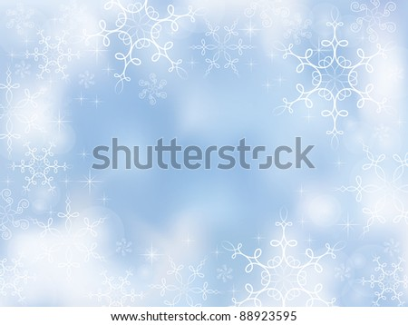 Decorative winter background with calligraphic snowflakes - stock photo
