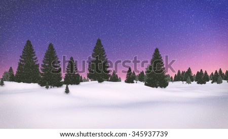 Decorative winter landscape with silhouettes of fir trees against colorful dawn sky. 3D illustration was done from my own 3D rendering file. - stock photo