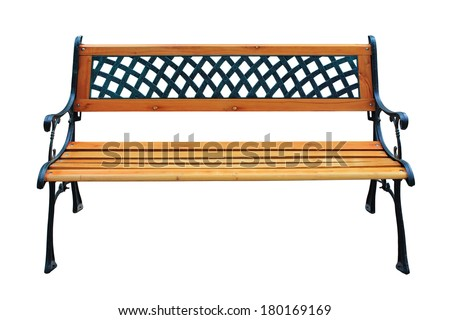 Decorative wooden bench isolated on white background - stock photo