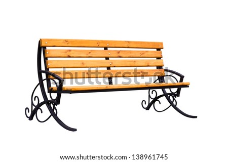 Decorative wooden bench isolated over a white background - stock photo
