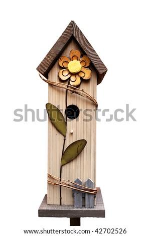 decorative wooden birdhouse (isolated) - stock photo