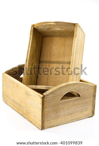 Decorative wooden crates on a white background - stock photo