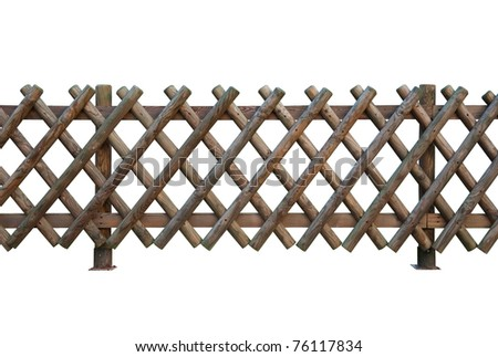 decorative wooden fence isolated on white - stock photo