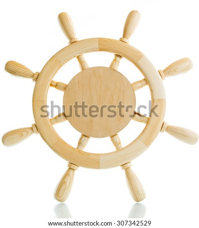 Decorative wooden steering wheel on a white background - stock photo