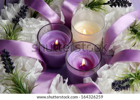 Decorative wreath with candles close up - stock photo