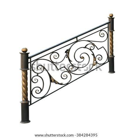 Decorative wrought iron railings. Isolated over white background. - stock photo