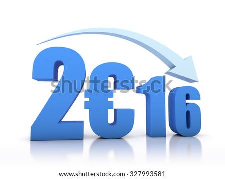 Decrease 2016 and Euro With Arrow - stock photo