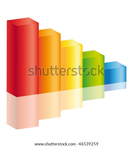 Decrease colorful stick diagram icon with reflection ll. - stock photo