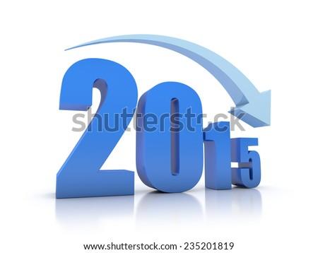 Decrease 2015 With Arrow - stock photo