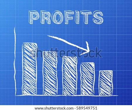 Decreasing graph profits word on blueprint stock illustration decreasing graph and profits word on blueprint background malvernweather Image collections