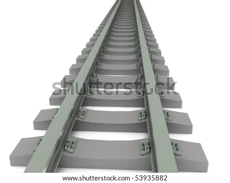 Decreasing Railway isolated on white background. High quality 3d render. - stock photo