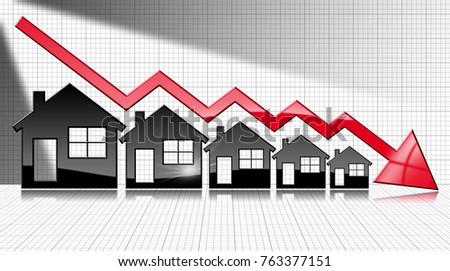 Decreasing Real Estate Sales 3 D Illustration Stock Illustration