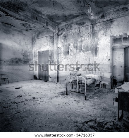 Decrepit and aged hospital room. Beginning of XX century. Border between France and Spain