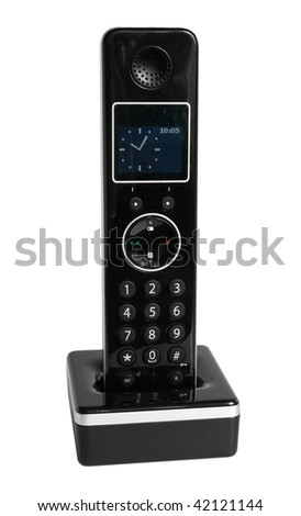 Dect cordless phone isolated on the white background - stock photo