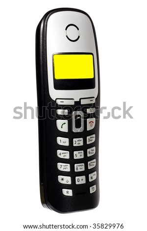 DECT phone with yellow screen isolated on white background