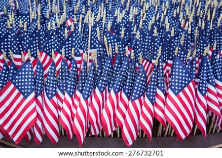 Dedicated memorial of American flags to fallen police officers. - stock photo