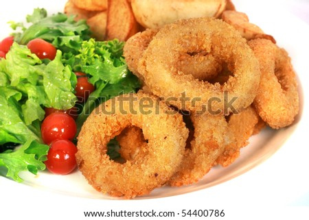Deep batter fried squid rings calamari isolated with white background - stock photo
