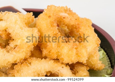 Deep batter fried squid rings calamari with green salad - stock photo