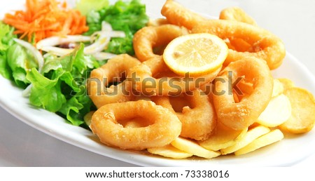 Deep batter fried squid rings calamari with green salad on white plate - stock photo