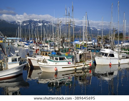 DEEP BAY, VANCOUVER ISLAND - MAY 8, 2008: North of Qualicum Beach in the waters of Baynes Sound is a small fishing port. The area around is known for excellent salmon fishing. British Columbia, Canada - stock photo